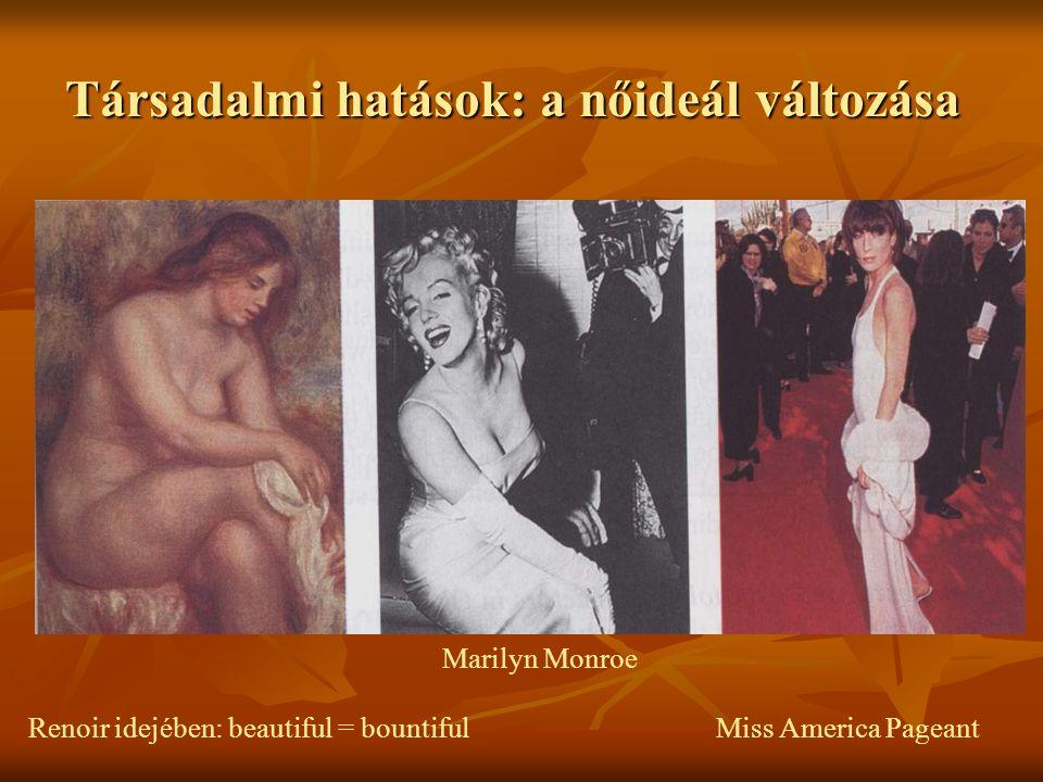 Társadalmi hatások: a nőideál változása Marilyn Monroe Renoir idejében: beautiful = bountiful Miss America Pageant