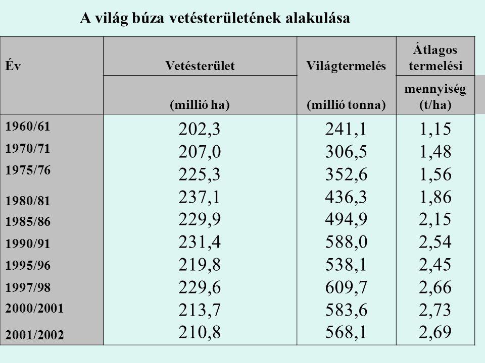 A világ búza vetésterületének alakulása ÉvVetésterületVilágtermelés Átlagos termelési (millió ha)(millió tonna) mennyiség (t/ha) 1960/61 202,3 207,0 2