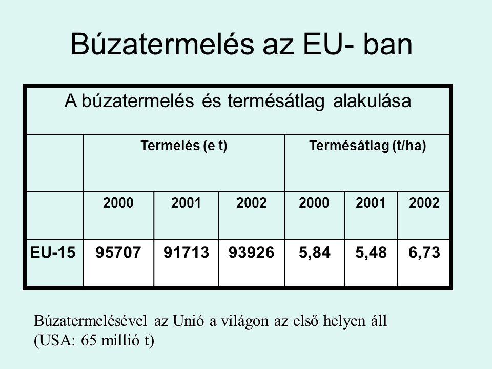 Búzatermelés az EU- ban A búzatermelés és termésátlag alakulása Termelés (e t)Termésátlag (t/ha) 200020012002200020012002 EU-159570791713939265,845,48