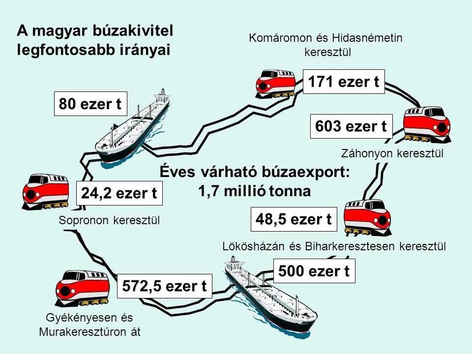 24,2 ezer t 572,5 ezer t 171 ezer t 603 ezer t 48,5 ezer t 500 ezer t 80 ezer t Éves várható búzaexport: 1,7 millió tonna Komáromon és Hidasnémetin ke