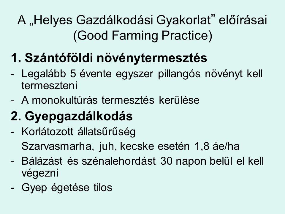 """A """"Helyes Gazdálkodási Gyakorlat """" előírásai (Good Farming Practice) 1. Szántóföldi növénytermesztés -Legalább 5 évente egyszer pillangós növényt kell"""