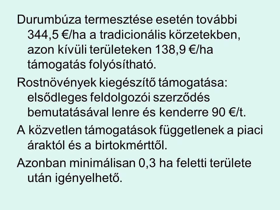 Durumbúza termesztése esetén további 344,5 €/ha a tradicionális körzetekben, azon kívüli területeken 138,9 €/ha támogatás folyósítható. Rostnövények k
