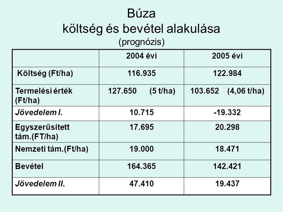 Búza költség és bevétel alakulása (prognózis) 2004 évi2005 évi Költség (Ft/ha)116.935122.984 Termelési érték (Ft/ha) 127.650 (5 t/ha)103.652 (4,06 t/h