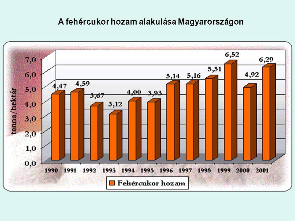 : A fehércukor hozam alakulása Magyarországon A fehércukor hozam alakulása Magyarországon