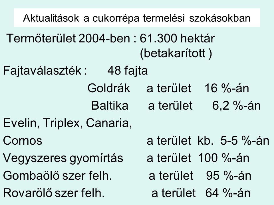 Aktualitások a cukorrépa termelési szokásokban Termőterület 2004-ben : 61.300 hektár (betakarított ) Fajtaválaszték : 48 fajta Goldrák a terület 16 %-