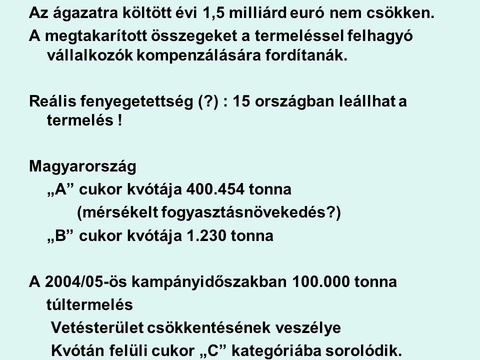 Az ágazatra költött évi 1,5 milliárd euró nem csökken. A megtakarított összegeket a termeléssel felhagyó vállalkozók kompenzálására fordítanák. Reális