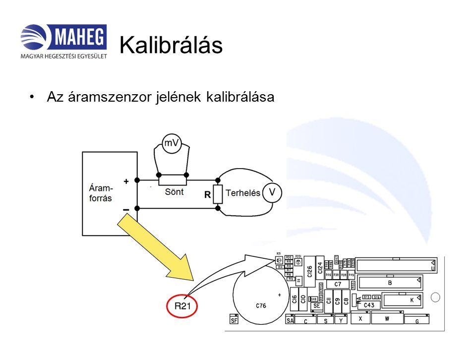 Kalibrálás Az áramszenzor jelének kalibrálása