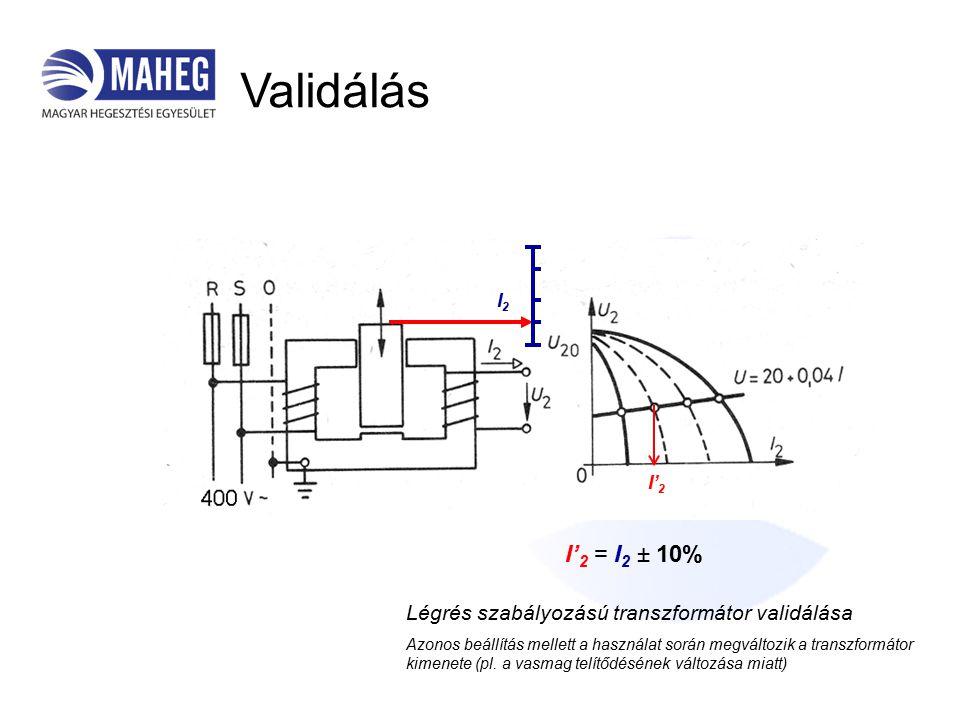 Validálás I' 2 I2I2 I' 2 = I 2 ± 10% Légrés szabályozású transzformátor validálása Azonos beállítás mellett a használat során megváltozik a transzformátor kimenete (pl.
