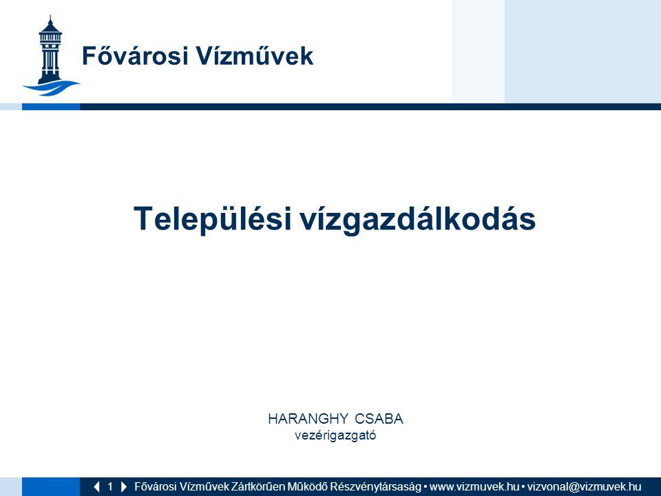 1 Települési vízgazdálkodás HARANGHY CSABA vezérigazgató Fővárosi Vízművek Zártkörűen Működő Részvénytársaság www.vizmuvek.hu vizvonal@vizmuvek.hu Főv