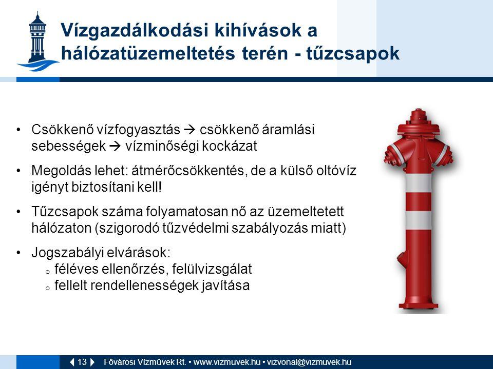 13 Vízgazdálkodási kihívások a hálózatüzemeltetés terén - tűzcsapok Fővárosi Vízművek Rt. www.vizmuvek.hu vizvonal@vizmuvek.hu Csökkenő vízfogyasztás