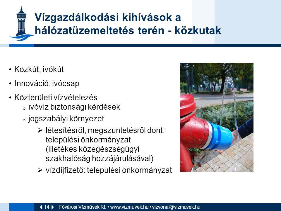 14 Fővárosi Vízművek Rt. www.vizmuvek.hu vizvonal@vizmuvek.hu Vízgazdálkodási kihívások a hálózatüzemeltetés terén - közkutak Közkút, ivókút Innováció