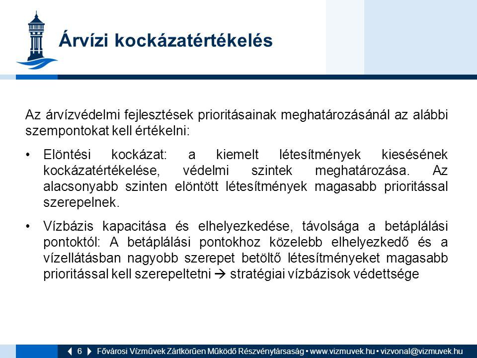 6 Árvízi kockázatértékelés Az árvízvédelmi fejlesztések prioritásainak meghatározásánál az alábbi szempontokat kell értékelni: Elöntési kockázat: a ki