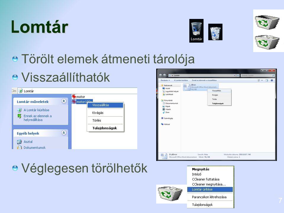 Fájlrendszer Egy truktúra, amely alapján az operációs rendszer elnevezi, tárolja és rendszerezi a fájlokat.