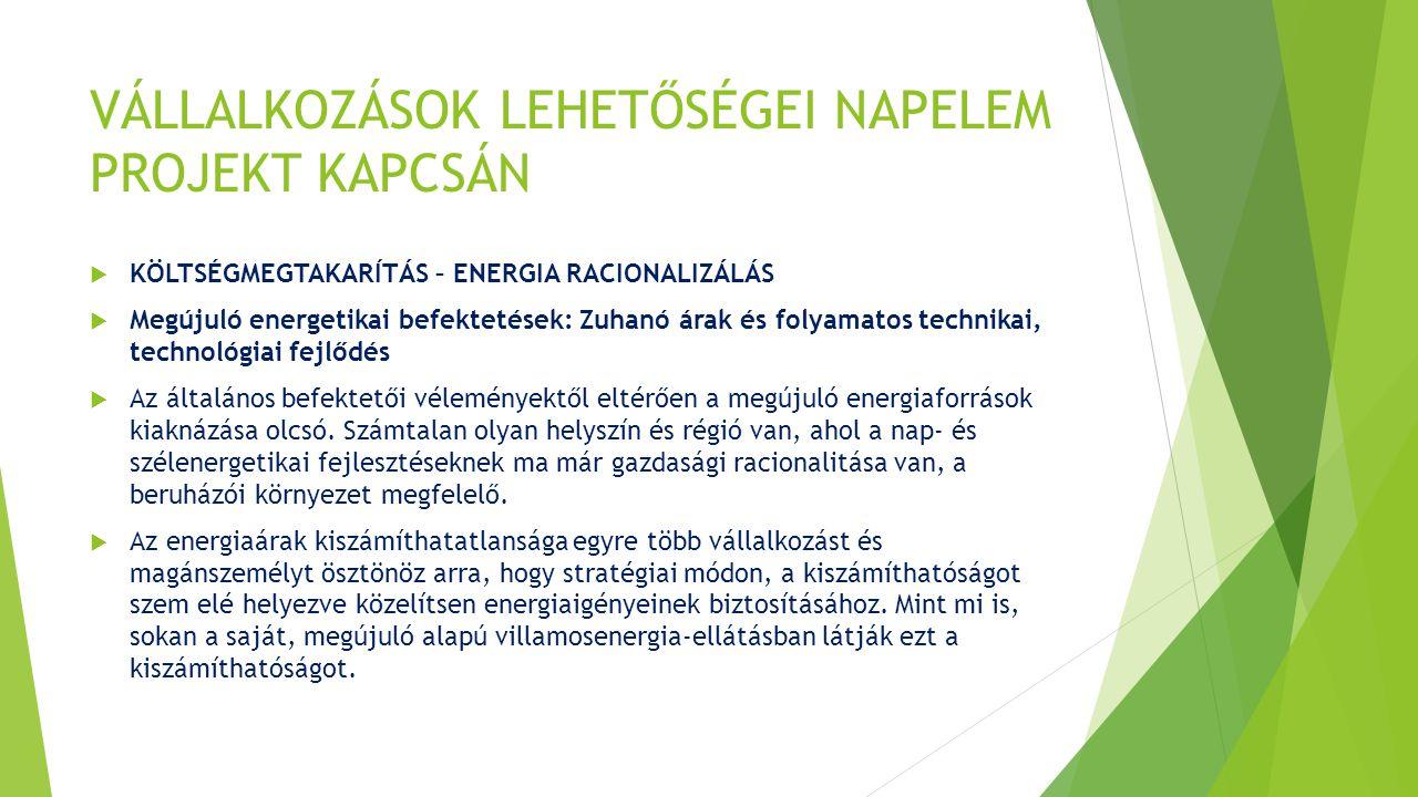 VÁLLALKOZÁSOK LEHETŐSÉGEI NAPELEM PROJEKT KAPCSÁN  KÖLTSÉGMEGTAKARÍTÁS – ENERGIA RACIONALIZÁLÁS  Megújuló energetikai befektetések: Zuhanó árak és folyamatos technikai, technológiai fejlődés  Az általános befektetői véleményektől eltérően a megújuló energiaforrások kiaknázása olcsó.