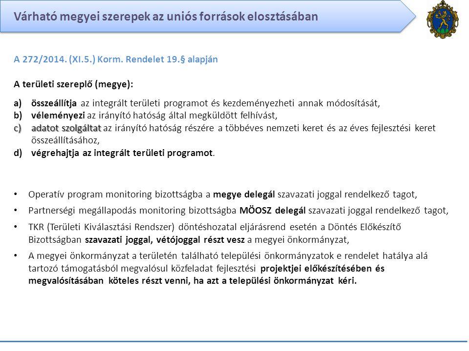 Várható megyei szerepek az uniós források elosztásában A 272/2014. (XI.5.) Korm. Rendelet 19.§ alapján A területi szereplő (megye): a)összeállítja az