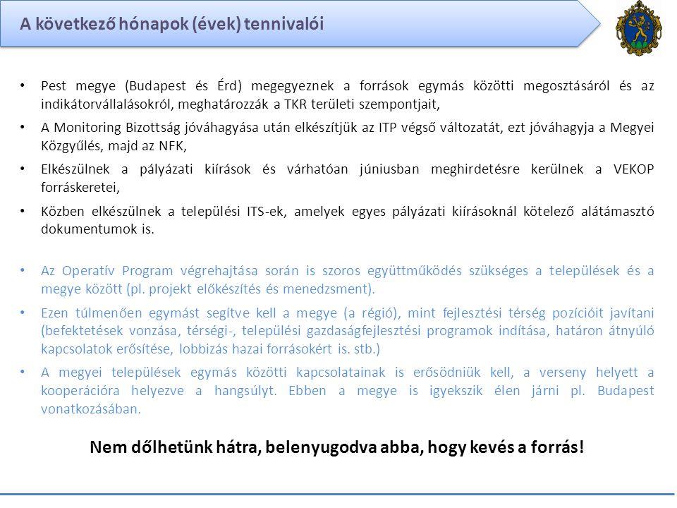 A következő hónapok (évek) tennivalói Pest megye (Budapest és Érd) megegyeznek a források egymás közötti megosztásáról és az indikátorvállalásokról, m