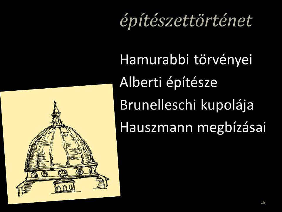 építészettörténet Hamurabbi törvényei Alberti építésze Brunelleschi kupolája Hauszmann megbízásai 18