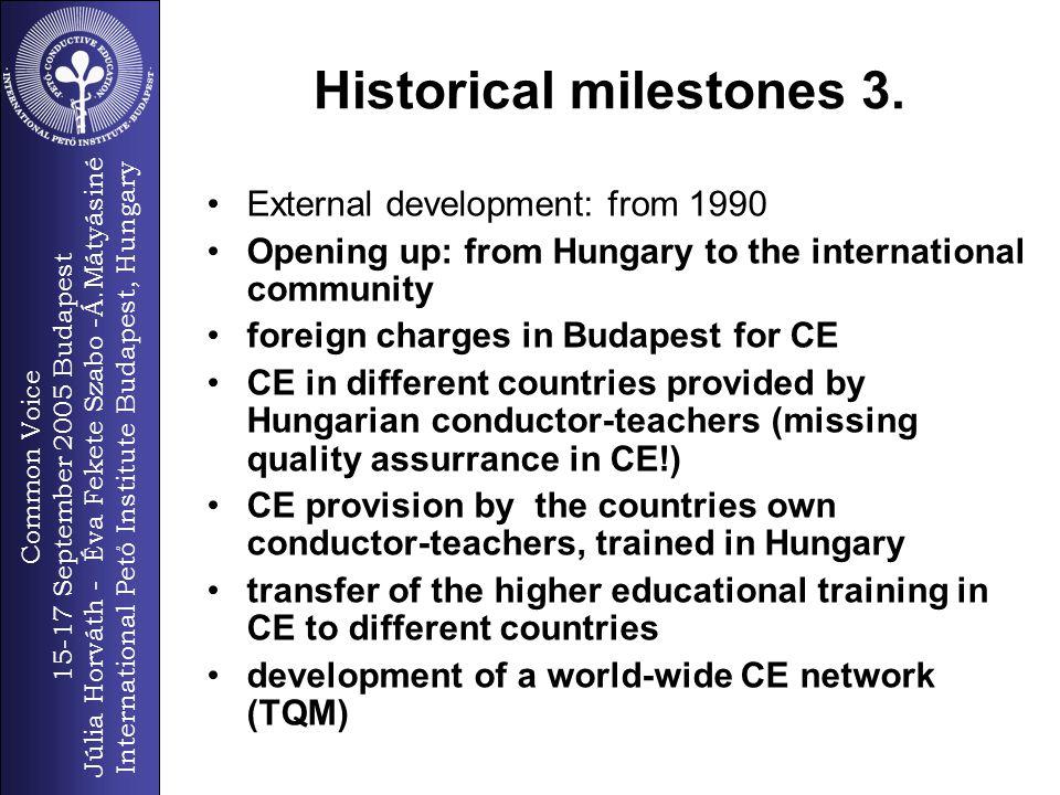 Common Voice 15-17 September 2005 Budapest Júlia Horváth - Éva Fekete Szabo -Á.Mátyásiné International Pető Institute Budapest, Hungary 10 Historical milestones 3.