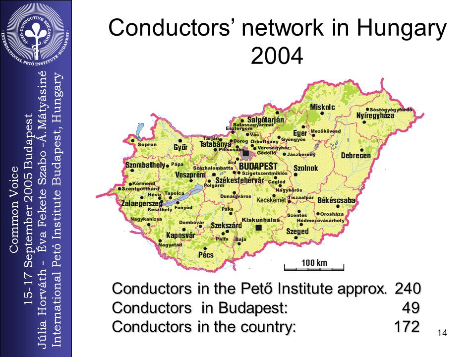 Common Voice 15-17 September 2005 Budapest Júlia Horváth - Éva Fekete Szabo -Á.Mátyásiné International Pető Institute Budapest, Hungary 14 Conductors' network in Hungary 2004 Conductors in the Pető Institute approx.