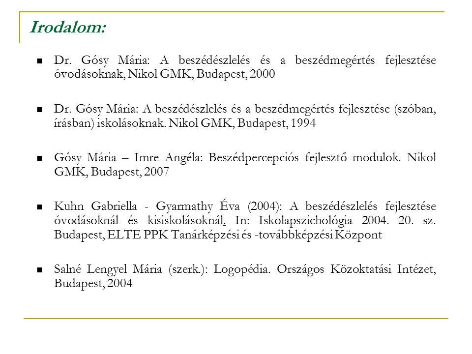 Irodalom: Dr. Gósy Mária: A beszédészlelés és a beszédmegértés fejlesztése óvodásoknak, Nikol GMK, Budapest, 2000 Dr. Gósy Mária: A beszédészlelés és