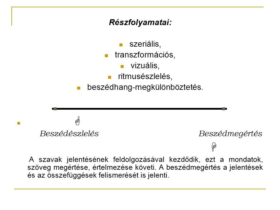 Részfolyamatai: szeriális, transzformációs, vizuális, ritmusészlelés, beszédhang-megkülönböztetés.  Beszédészlelés Beszédmegértés  A szavak jelentés