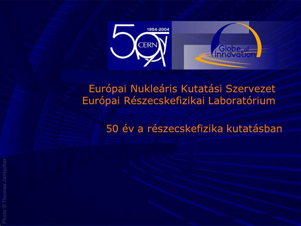 2 CERN Európai Nukleáris Kutatási Szervezet Európai Részecskefizikai Laboratóriuma 1954-ben 12 ország alapította, ma már 20 ország tagja Nukleáris = Atommagot kutató (nucleus) Évente több mint 7000 felhasználó Éves költségvetése közel 1000 MCHF (600M€) 1954: A szervezet alapító okirata az eredei aláírásokkal2004: A 20 tagország
