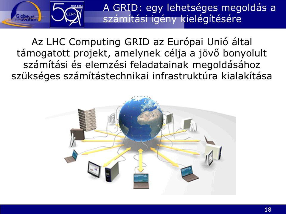 18 A GRID: egy lehetséges megoldás a számítási igény kielégítésére Az LHC Computing GRID az Európai Unió által támogatott projekt, amelynek célja a jövő bonyolult számítási és elemzési feladatainak megoldásához szükséges számítástechnikai infrastruktúra kialakítása