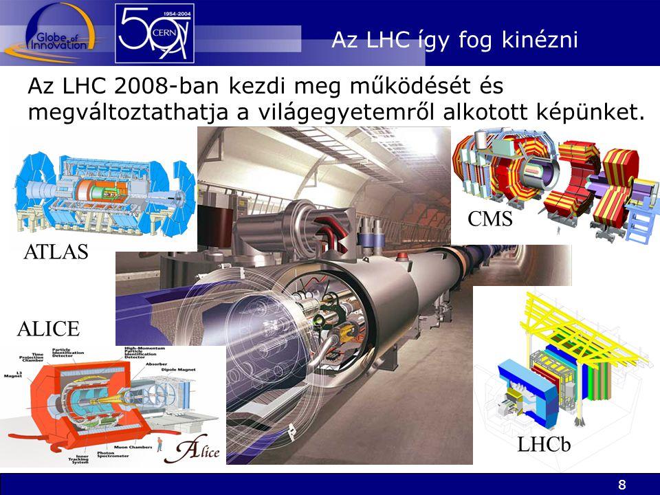 8 Az LHC így fog kinézni Az LHC 2008-ban kezdi meg működését és megváltoztathatja a világegyetemről alkotott képünket.