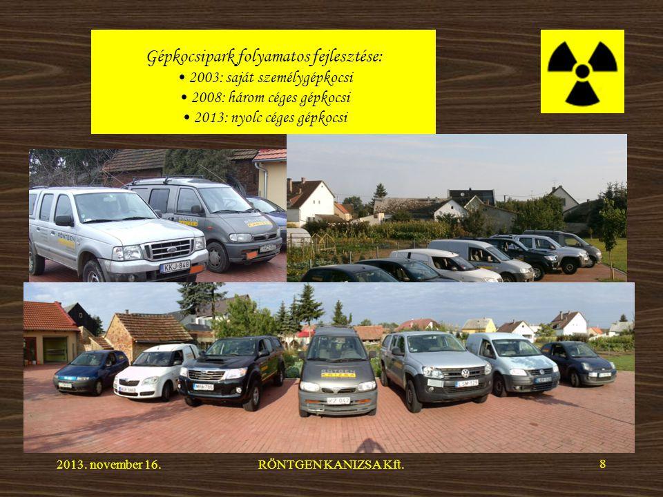 Gépkocsipark folyamatos fejlesztése: 2003: saját személygépkocsi 2008: három céges gépkocsi 2013: nyolc céges gépkocsi 2013.