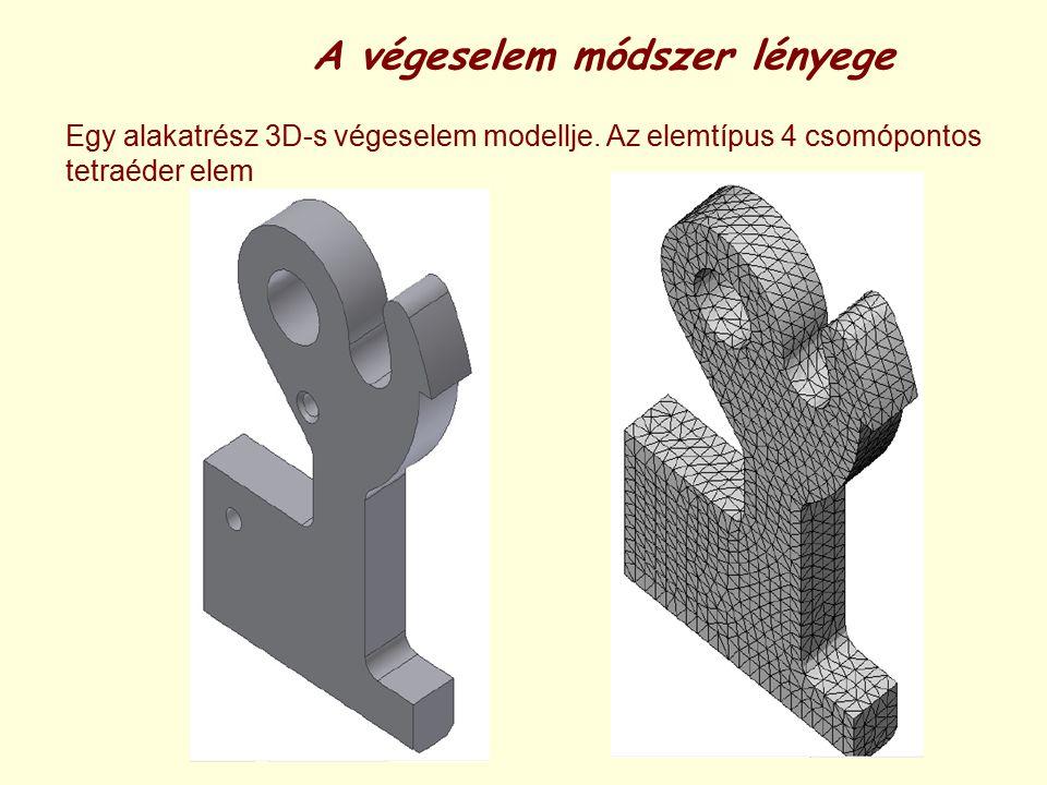 A végeselem módszer lényege Egy alakatrész 3D-s végeselem modellje. Az elemtípus 4 csomópontos tetraéder elem