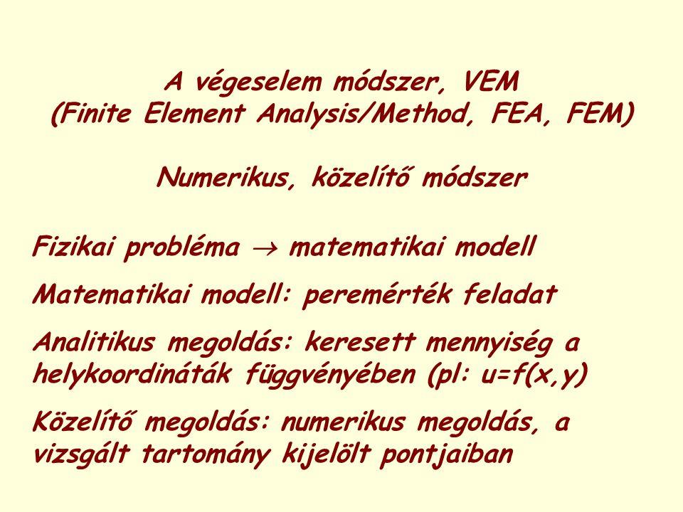 A végeselem módszer, VEM (Finite Element Analysis/Method, FEA, FEM) Numerikus, közelítő módszer Fizikai probléma  matematikai modell Matematikai mode