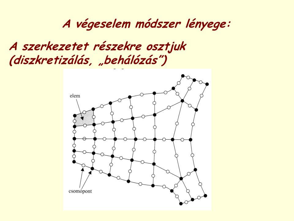 """A végeselem módszer lényege: A szerkezetet részekre osztjuk (diszkretizálás, """"behálózás"""")"""