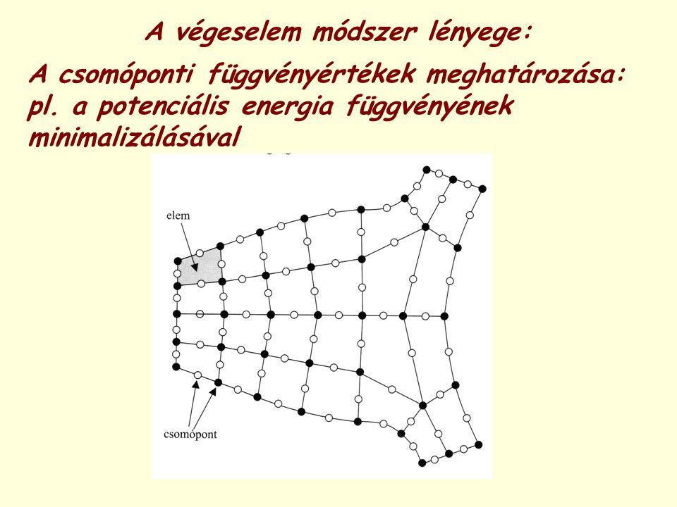 A végeselem módszer lényege: A csomóponti függvényértékek meghatározása: pl. a potenciális energia függvényének minimalizálásával