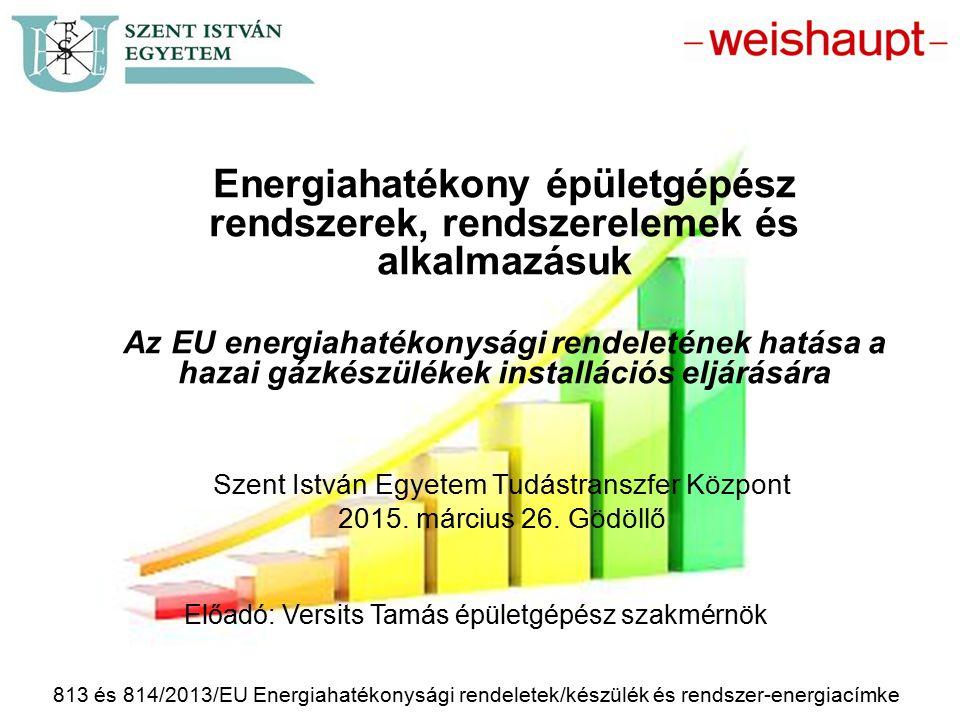 813 és 814/2013/EU Energiahatékonysági rendeletek/készülék és rendszer-energiacímke Előadó: Versits Tamás épületgépész szakmérnök Energiahatékony épül