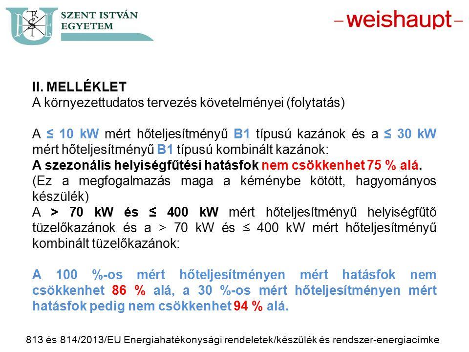813 és 814/2013/EU Energiahatékonysági rendeletek/készülék és rendszer-energiacímke II. MELLÉKLET A környezettudatos tervezés követelményei (folytatás
