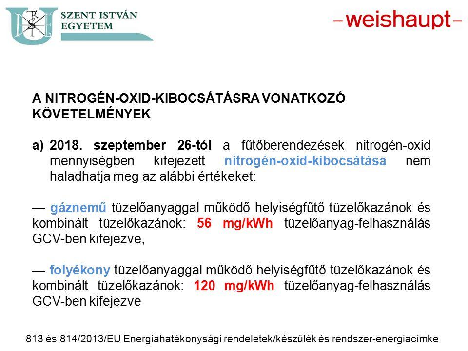 813 és 814/2013/EU Energiahatékonysági rendeletek/készülék és rendszer-energiacímke A NITROGÉN-OXID-KIBOCSÁTÁSRA VONATKOZÓ KÖVETELMÉNYEK a)2018. szept