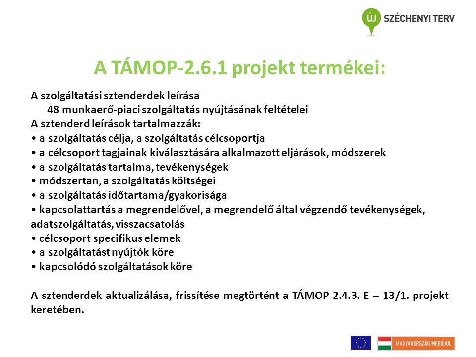 A TÁMOP-2.6.1 projekt termékei: A szolgáltatási sztenderdek leírása 48 munkaerő-piaci szolgáltatás nyújtásának feltételei A sztenderd leírások tartalmazzák: a szolgáltatás célja, a szolgáltatás célcsoportja a célcsoport tagjainak kiválasztására alkalmazott eljárások, módszerek a szolgáltatás tartalma, tevékenységek módszertan, a szolgáltatás költségei a szolgáltatás időtartama/gyakorisága kapcsolattartás a megrendelővel, a megrendelő által végzendő tevékenységek, adatszolgáltatás, visszacsatolás célcsoport specifikus elemek a szolgáltatást nyújtók köre kapcsolódó szolgáltatások köre A sztenderdek aktualizálása, frissítése megtörtént a TÁMOP 2.4.3.