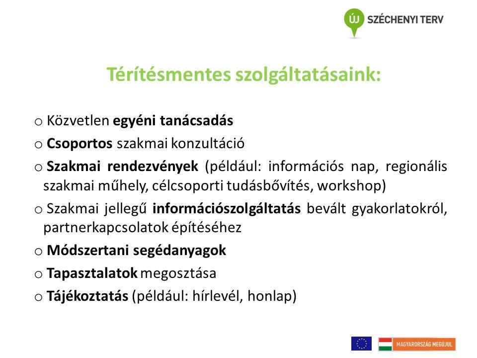 Térítésmentes szolgáltatásaink: o Közvetlen egyéni tanácsadás o Csoportos szakmai konzultáció o Szakmai rendezvények (például: információs nap, region