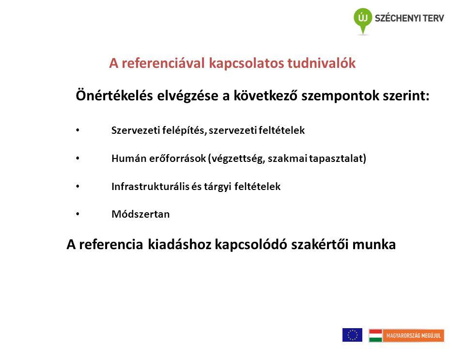 A referenciával kapcsolatos tudnivalók Önértékelés elvégzése a következő szempontok szerint: Szervezeti felépítés, szervezeti feltételek Humán erőforrások (végzettség, szakmai tapasztalat) Infrastrukturális és tárgyi feltételek Módszertan A referencia kiadáshoz kapcsolódó szakértői munka