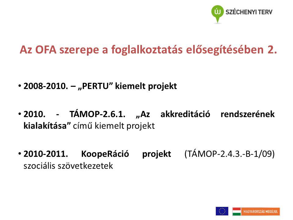 """Az OFA szerepe a foglalkoztatás elősegítésében 2. 2008-2010. – """"PERTU"""" kiemelt projekt 2010. - TÁMOP-2.6.1. """"Az akkreditáció rendszerének kialakítása"""""""