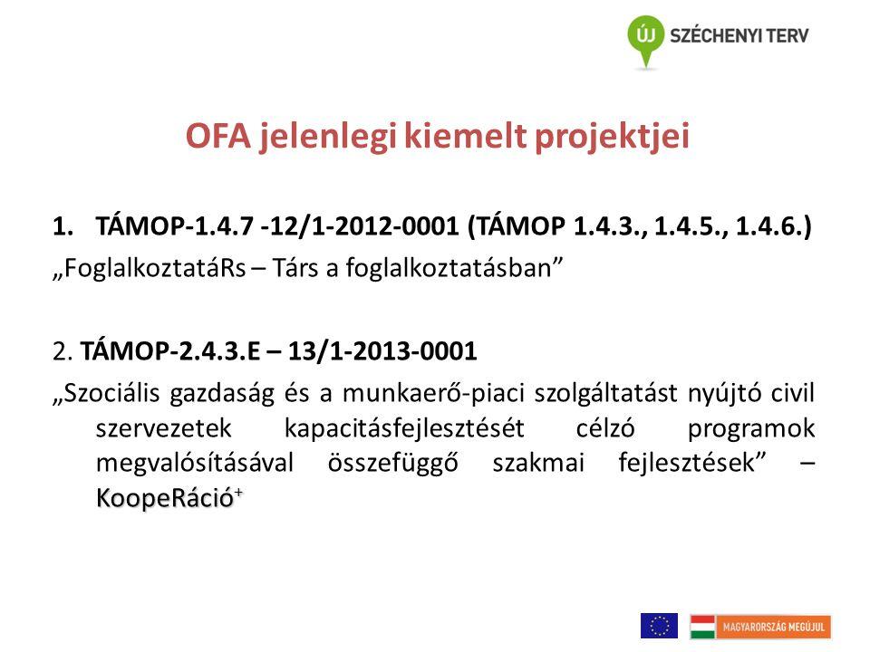"""OFA jelenlegi kiemelt projektjei 1.TÁMOP-1.4.7 -12/1-2012-0001 (TÁMOP 1.4.3., 1.4.5., 1.4.6.) """"FoglalkoztatáRs – Társ a foglalkoztatásban"""" 2. TÁMOP-2."""