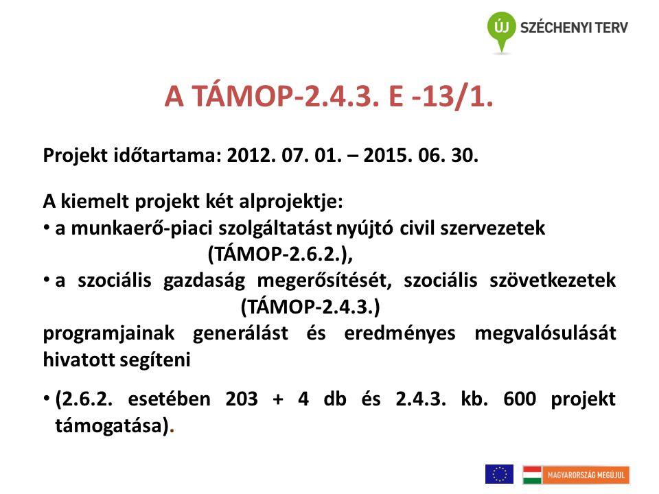 A TÁMOP-2.4.3. E -13/1. Projekt időtartama: 2012. 07. 01. – 2015. 06. 30. A kiemelt projekt két alprojektje: a munkaerő-piaci szolgáltatást nyújtó civ