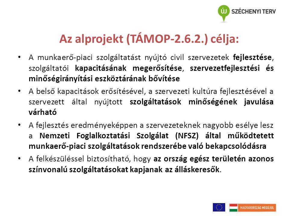 Az alprojekt (TÁMOP-2.6.2.) célja: A munkaerő-piaci szolgáltatást nyújtó civil szervezetek fejlesztése, szolgáltatói kapacitásának megerősítése, szervezetfejlesztési és minőségirányítási eszköztárának bővítése A belső kapacitások erősítésével, a szervezeti kultúra fejlesztésével a szervezett által nyújtott szolgáltatások minőségének javulása várható A fejlesztés eredményeképpen a szervezeteknek nagyobb esélye lesz a Nemzeti Foglalkoztatási Szolgálat (NFSZ) által működtetett munkaerő-piaci szolgáltatások rendszerébe való bekapcsolódásra A felkészüléssel biztosítható, hogy az ország egész területén azonos színvonalú szolgáltatásokat kapjanak az álláskeresők.