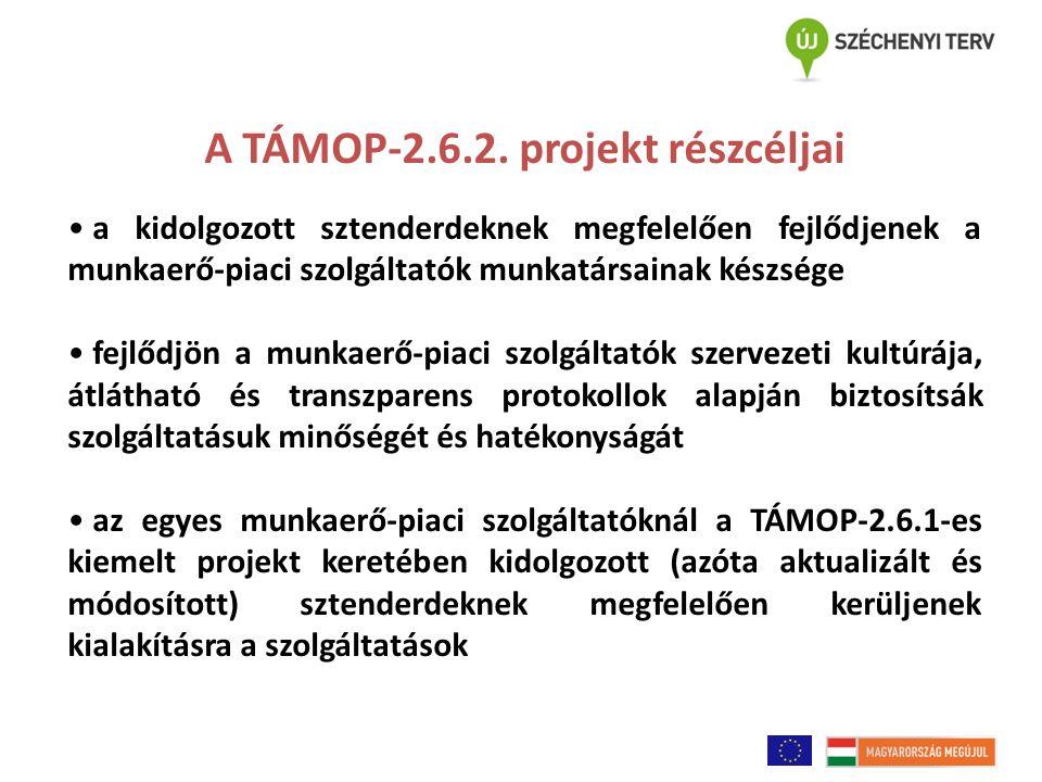 A TÁMOP-2.6.2. projekt részcéljai a kidolgozott sztenderdeknek megfelelően fejlődjenek a munkaerő-piaci szolgáltatók munkatársainak készsége fejlődjön
