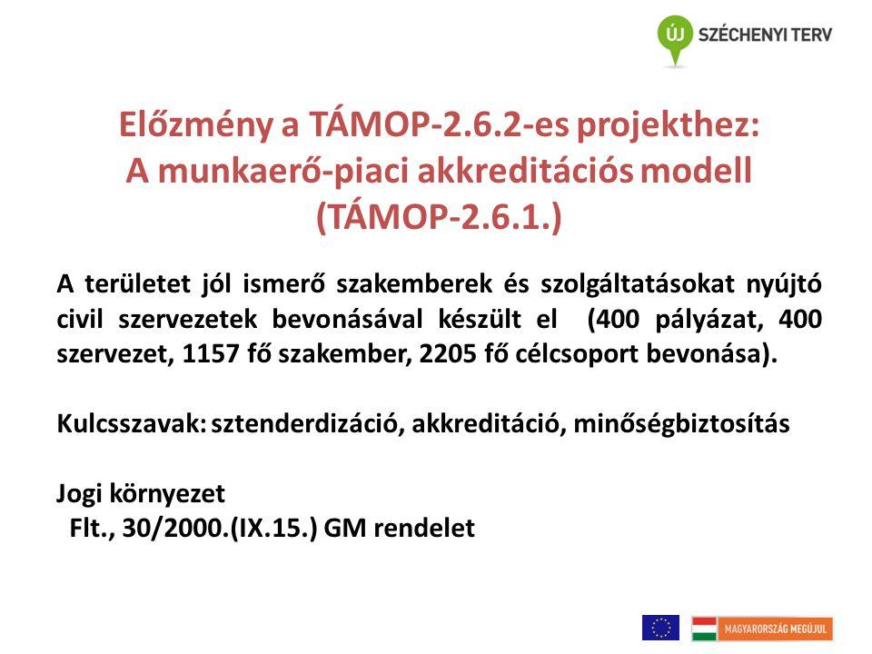 Előzmény a TÁMOP-2.6.2-es projekthez: A munkaerő-piaci akkreditációs modell (TÁMOP-2.6.1.) A területet jól ismerő szakemberek és szolgáltatásokat nyújtó civil szervezetek bevonásával készült el (400 pályázat, 400 szervezet, 1157 fő szakember, 2205 fő célcsoport bevonása).