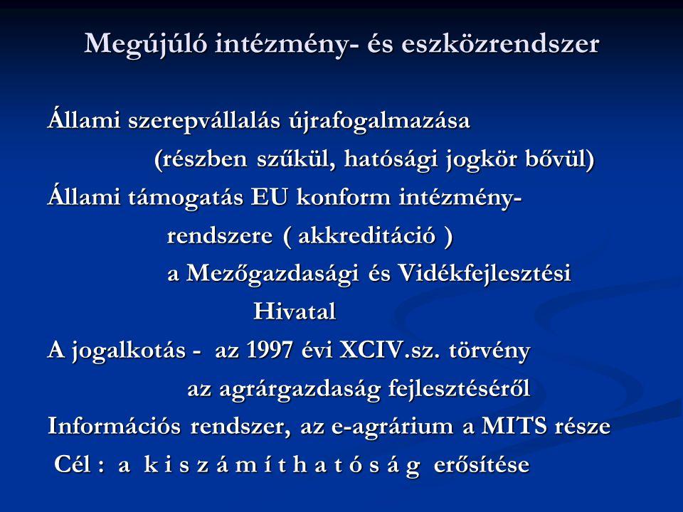 Megújúló intézmény- és eszközrendszer Állami szerepvállalás újrafogalmazása (részben szűkül, hatósági jogkör bővül) (részben szűkül, hatósági jogkör bővül) Állami támogatás EU konform intézmény- rendszere ( akkreditáció ) rendszere ( akkreditáció ) a Mezőgazdasági és Vidékfejlesztési a Mezőgazdasági és Vidékfejlesztési Hivatal Hivatal A jogalkotás - az 1997 évi XCIV.sz.