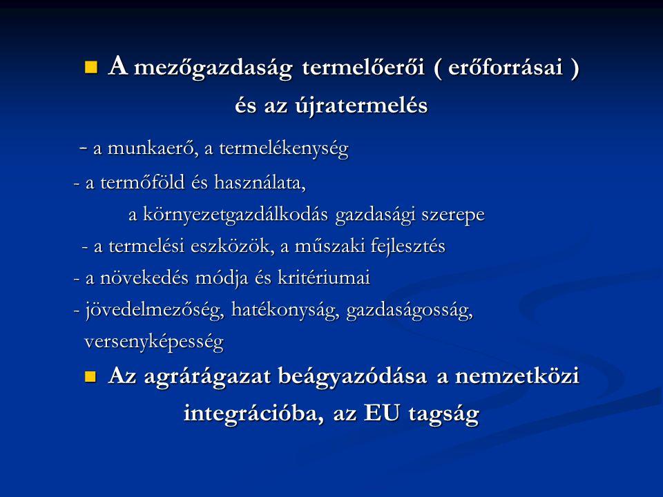 A mezőgazdaság termelőerői ( erőforrásai ) A mezőgazdaság termelőerői ( erőforrásai ) és az újratermelés - a munkaerő, a termelékenység - a munkaerő, a termelékenység - a termőföld és használata, - a termőföld és használata, a környezetgazdálkodás gazdasági szerepe a környezetgazdálkodás gazdasági szerepe - a termelési eszközök, a műszaki fejlesztés - a növekedés módja és kritériumai - a növekedés módja és kritériumai - jövedelmezőség, hatékonyság, gazdaságosság, - jövedelmezőség, hatékonyság, gazdaságosság, versenyképesség versenyképesség Az agrárágazat beágyazódása a nemzetközi Az agrárágazat beágyazódása a nemzetközi integrációba, az EU tagság