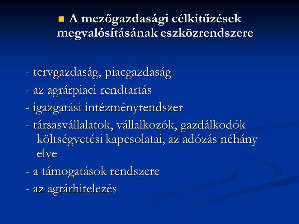 A mezőgazdasági célkitűzések megvalósításának eszközrendszere A mezőgazdasági célkitűzések megvalósításának eszközrendszere - tervgazdaság, piacgazdaság - az agrárpiaci rendtartás - igazgatási intézményrendszer - társasvállalatok, vállalkozók, gazdálkodók költségvetési kapcsolatai, az adózás néhány elve - a támogatások rendszere - az agrárhitelezés
