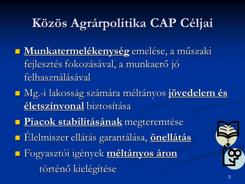 3 Közös Agrárpolitika CAP Céljai Munkatermelékenység emelése, a műszaki fejlesztés fokozásával, a munkaerő jó felhasználásával Munkatermelékenység emelése, a műszaki fejlesztés fokozásával, a munkaerő jó felhasználásával Mg.-i lakosság számára méltányos jövedelem és életszínvonal biztosítása Mg.-i lakosság számára méltányos jövedelem és életszínvonal biztosítása Piacok stabilitásának megteremtése Piacok stabilitásának megteremtése Élelmiszer ellátás garantálása, önellátás Élelmiszer ellátás garantálása, önellátás Fogyasztói igények méltányos áron Fogyasztói igények méltányos áron történő kielégítése
