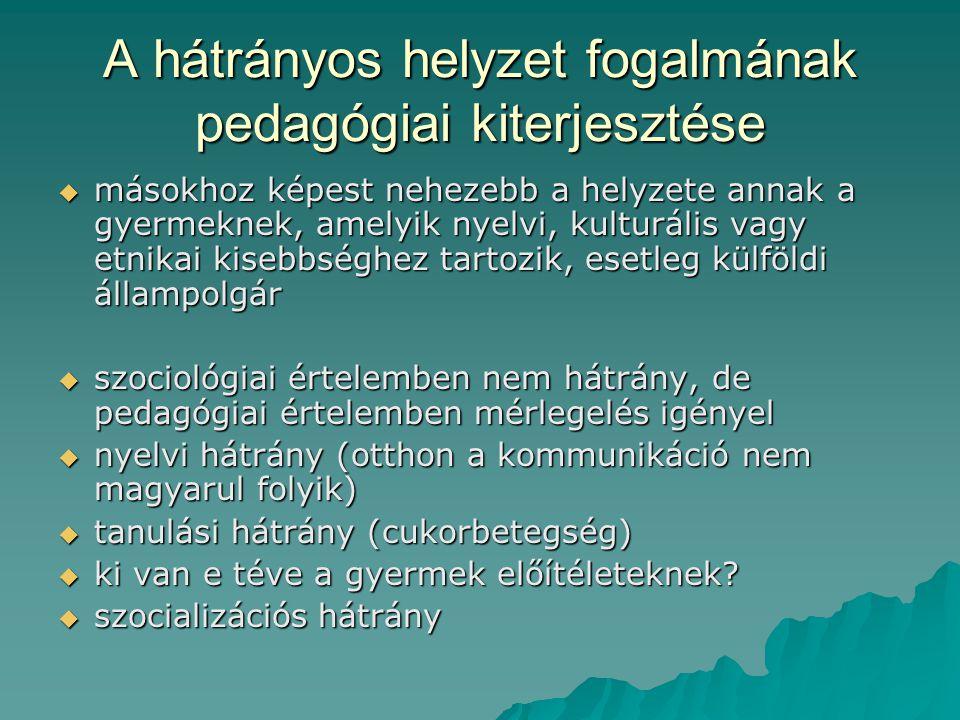 A hátrányos helyzet fogalmának pedagógiai kiterjesztése  másokhoz képest nehezebb a helyzete annak a gyermeknek, amelyik nyelvi, kulturális vagy etni